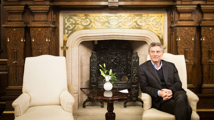 Mauricio Macri, president of Argentina, at the Government House, also known as Pink House