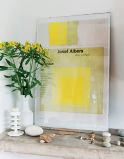 A Josef Albers poster with flowers