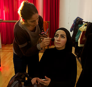 An actor in make-up for opening night