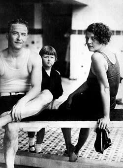 F Scott Fitzgerald and wife Zelda with daughter Scottie at the Virginia Beach