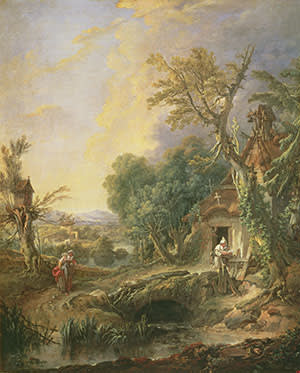 'Landscape with a Hermit' (1742), by Francois Boucher