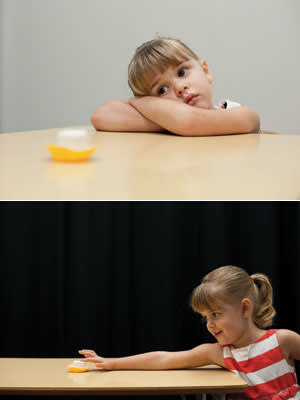 A girl participates in the updated marshmallow experiment