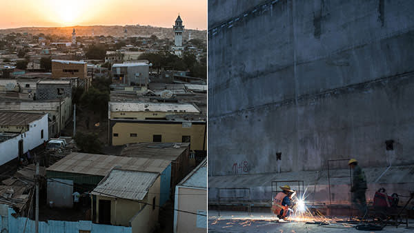 Left: A suburb of Djibouti City; right: workers at the new Doraleh Multi-Purpose Port
