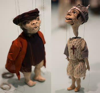 Marionettes in an installation at the gallery