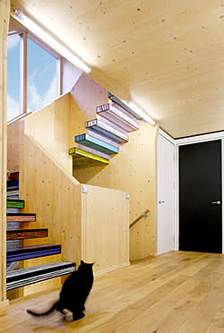 Stairs at Wood Block House by dRMM Architects; Richard Woods' wood block print, £32,000 + VAT to buy the rights for the print