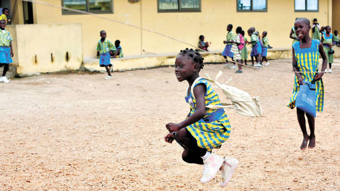 Children playing at the Challenging Heights school in Sankor, Ghana