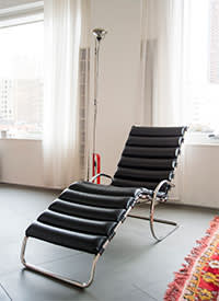A chair designed by Mies van der Rohe