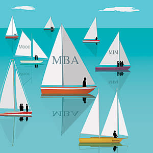 illustration of sailboats with MBA terms on the sails
