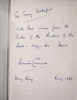 First edition of 'The Spy Who Came in From The Cold ', 1965. In an inscription to an unknown person, Ronnie Cornwell styles himself as 'the father of the Author'
