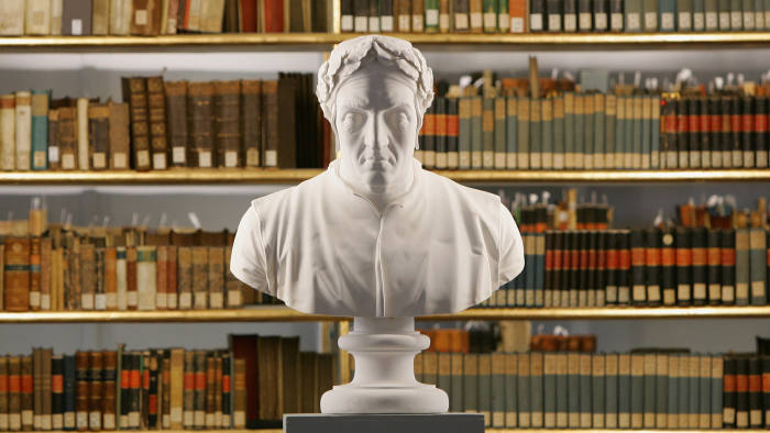 The sculpture of Italian poet Dante Alighieri is seen at the historic Rococo room of the Duchess Anna Amalia Library on October 18, 2007 in Weimar, Germany