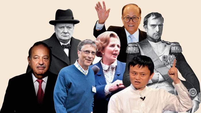 (clockwise from top) Li Ka-shing, Napoleon, Jack Ma, Margaret Thatcher, Bill Gates, Carlos Slim and Winston Churchill