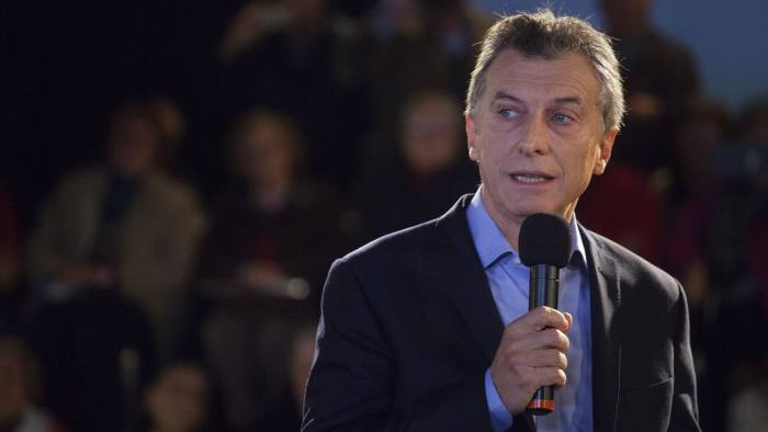 Mauricio Macri, Argentina's president, speaks during an event in Buenos Aires, Argentina, on Friday, May 27, 2016. Macri announced a amnesty on an estimated $500 billion of unregistered funds stashed abroad to pay pensioners and help fund a multi-billion dollar infrastructure program. Photographer: Diego Levy/Bloomberg