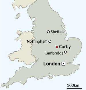 Corby locator map