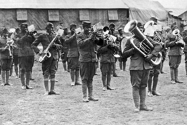 The band of the Harlem Hellfighters 369th Infantry Regiment, France, circa 1918