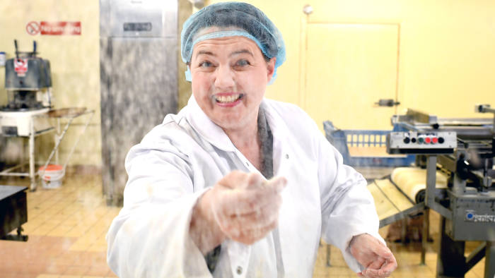 DUMFRIES, SCOTLAND - MAY 16: Scottish Conservative leader Ruth Davidson throws flour as she poses for a photograph during campaigning with local candidate Allister Jack at Express Bakery on May 17, 2017 in Dumfries, Scotland. Britain goes to the polls on June 8 to elect a new parliament in a general election. (Photo by Jeff J Mitchell/Getty Images)