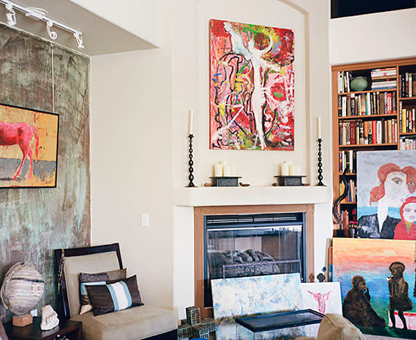 The living room with Autumn's paintings