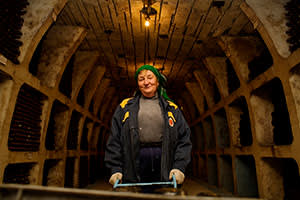 An employee at Milestii Mici winery, where underground cellars house the largest collection of wine (by number of bottles) in the world