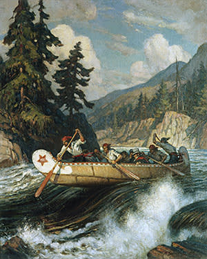 Artwork depicting Archibald McDonald, chief Hudson's Bay Company trader, as he braves rapids