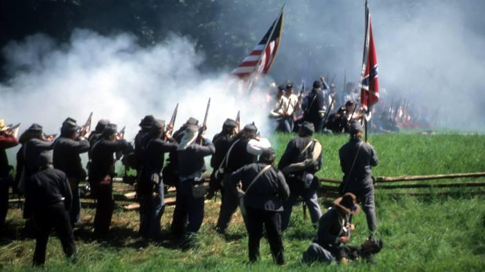 Civil war reenactment confederates volley fire