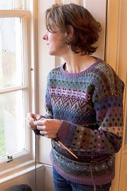 Lucy Kellaway knitting in Belmont House (wearing her own Fair Isle jumper)
