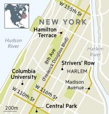 Map of Harlem, New York