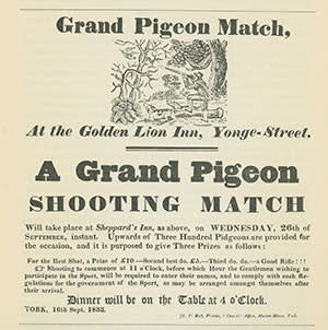 An 1833 advertisement for a pigeon shoot