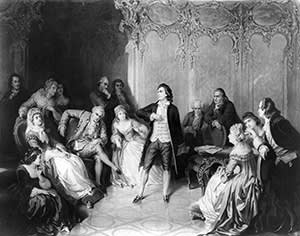 Friedrich Johann Christoph von Schiller (1759 - 1805) German dramatist, poet and historian gives a performance in front of the Grand Duke Charles Auguste of Weimar. His own play 'Don Carlos' is an historical tragedy in the grand style