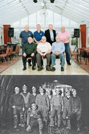 From top: former Rugeley miners today; miners in the now-closed pit in April 1971