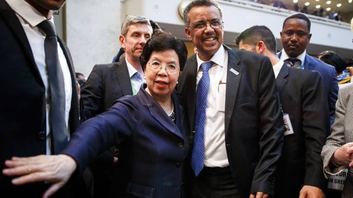 Outgoing director-general of the World Health Organization Margaret Chan, left, and her successor Tedros Adhanom Ghebreyesus
