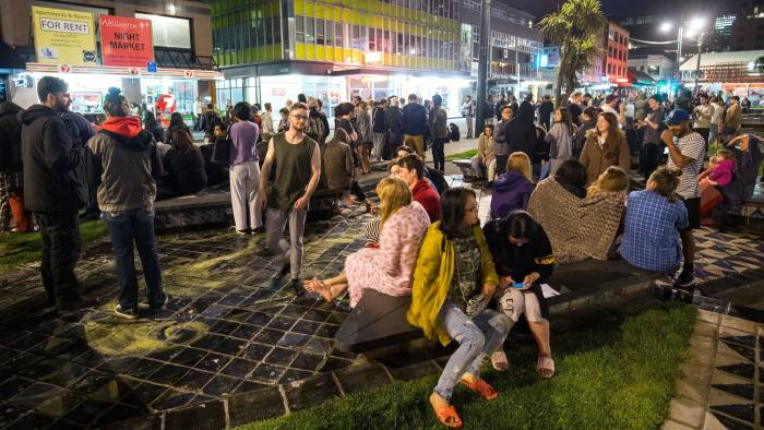 WELLINGTON, NEW ZEALAND - NOVEMBER 14: People wait in Te Aro Park after being evacuated from nearby buildings following an earthquake on November 14, 2016 in Wellington, New Zealand. The 7.5 magnitude earthquake struck 20km south-east of Hanmer Springs at 12.02am and triggered tsunami warnings for many coastal areas. (Photo by Hagen Hopkins/Getty Images)