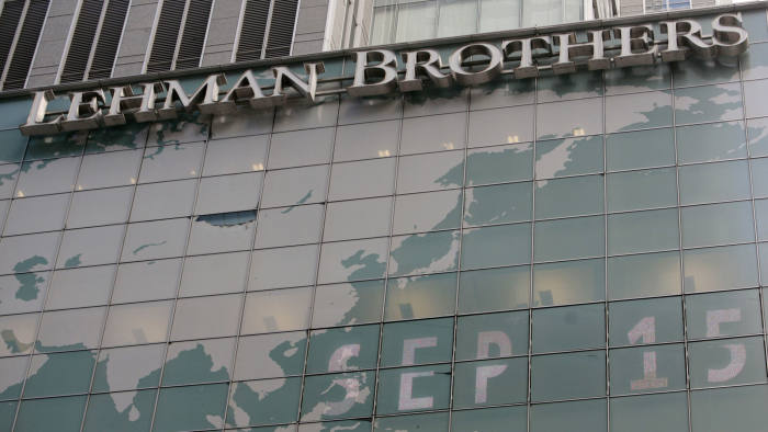 The sign for Lehman Brothers headquarters is seen in New York on September 15, 2008. On September 15, 2009, investors will mark the one-year anniversary of the Lehman Brothers collapse that sent markets reeling. The collapse is considered the largest bankruptcy in US history