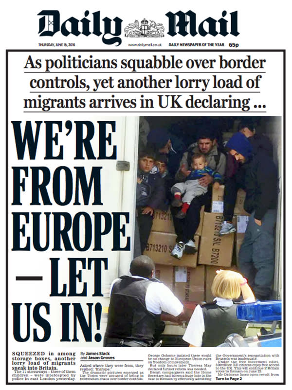 Daily Mail front page 16 June 2016