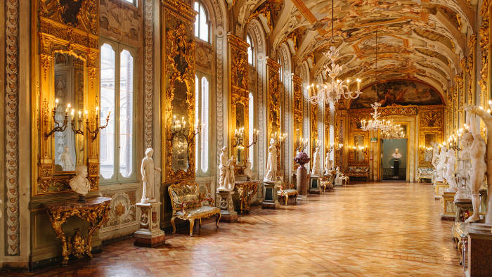 Gallery of Mirrors, designed by Gabriele Valvassori c1730, in the Palazzo Doria Pamphilj, Rome. The frescoes, by Aureliano Milani, are based on the labours of Hercules