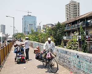 Deshrat Kedari delivering by bike
