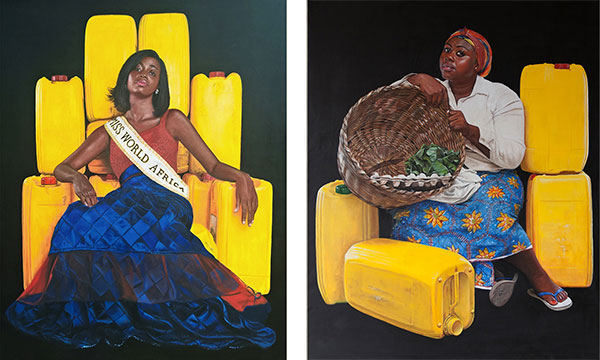 Jeremiah Quarshie's 'Yellow is the colour of Water' series (left and right)