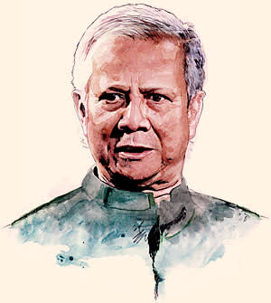 illustration of Muhammad Yunus for Lunch with the FT