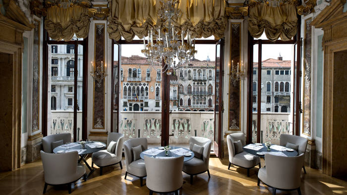 The dining room at the Aman in Venice