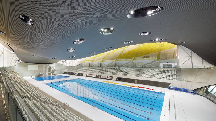 The London Aquatics Centre, designed by Zaha Hadid for the 2012 Olympic Games