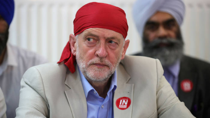 WEST BROMWICH, ENGLAND - JUNE 09: Labour Leader Jeremy Corbyn takes part in a community meeting at the Guru Har Rai Gurdwara Sahib temple on June 9, 2016 in West Bromwich, England. The Labour In campaign battle bus arrived in West Bromwich today with Labour leader Jeremy Corbyn and Tom Watson MP to canvass for votes and hope to persuade UK citizens to stay in the European Union when they vote in the EU Referendum on the June 23. (Photo by Christopher Furlong/Getty Images)
