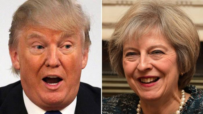 British officials say Theresa May hopes to win a firm commitment from Donald Trump to a US-UK trade deal