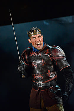 Alex Hassell in an RSC production of Shakespeare's Henry V