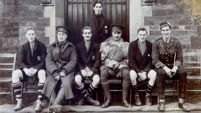 Bernard Schlesinger (second fromm left) on a visit to Uppingham school, England, before being sent to fight in the first world war in France