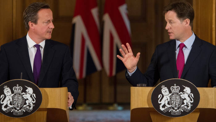 Britain's Prime Minister David Cameron (L) and Deputy Prime Minister Nick Clegg address a press conference at 10 Downing Street in London on July 10, 2014, regarding the Data Retention and Investigation Powers Bill, a proposed legislation to allow the Police and MI5 to probe mobile phone and internet data. AFP PHOTO/POOL/STEFAN ROUSSEAU (Photo credit should read STEFAN ROUSSEAU/AFP/Getty Images)