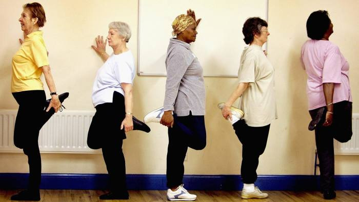 Older people at exercise class