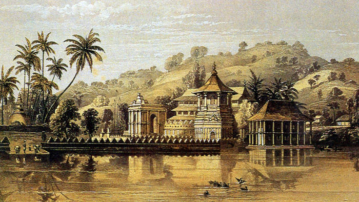 A colour engraving of the Temple of the Tooth in Kandy, 1864