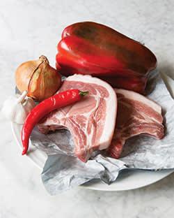 Pork chop with peperonata ingredients