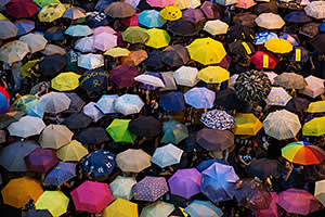 Umbrellas are opened as tens of thousands come to the main protest site one month after the Hong Kong police used tear gas to disperse protesters October 28, 2014 in Hong Kong
