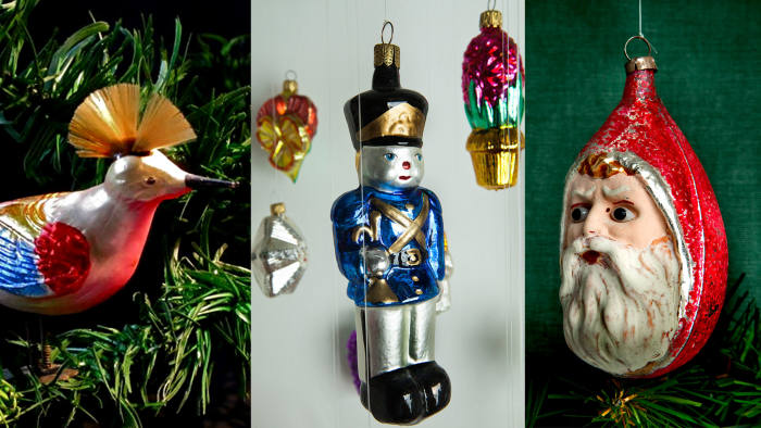 From left: a bird ornament c1925-1930, a soldier bauble handblown to a mould dating from the early 20th century and a Christmas bauble from Lauscha made in 1900-1920