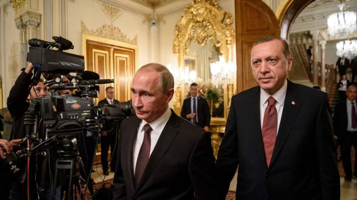 Russian President Vladimir Putin (L) and Turkish President Recep Tayyip Erdogan arrive to deliver a press conferance in Istanbul on October 10, 2016. Russia and Turkey on October 11 signed an agreement to build a gas pipeline under the Black Sea, as President Vladimir Putin and Turkish counterpart Recep Tayyip Erdogan vowed to intensify relations after a bitter crisis. / AFP PHOTO / OZAN KOSEOZAN KOSE/AFP/Getty Images