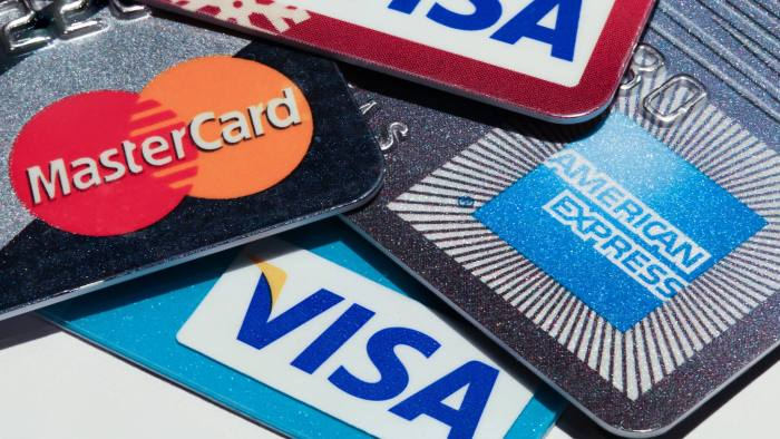 USA - September 12, 2012: Macro image of all major credit card companies. Visa, American Express and Mastercard credit cards are shown in great detail.  Photo Taken On: September 12th, 2012